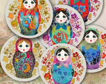Printable 2.5 inch size images BABUSHKA DOLLS Digital Collage Sheet for Pocket Mirrors, cupcake toppers, Magnets, Paper Weights - by ArtCult