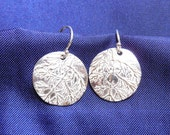 Sterling dill leaf earrings, replica of dill leaves in low-tarnish sterling