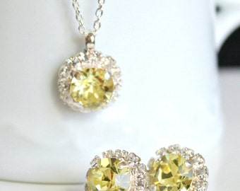 Lemon Yellow Swarovski Crystals Framed with Clear Halo Crystals on Silver Post Earrings with Matching Silver Pendant Necklace