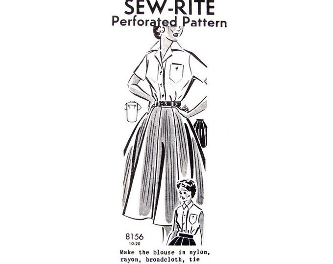 1950s Blouse & Full Skirt Pattern Mail Order 8156 Womens Sewing Pattern Size 10
