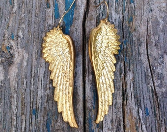 Gold Wing Earrings, Gold Angel Wings, Bird Earrings, Fairy Wings, Woodland Wedding, Boho Earrings, Gift for Her, Gold Bird, Forest Bird