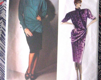 Designer Emanuel Ungaro Vogue Paris Orignal 1654 Wrapped Top Wrap Top Slim Skirt Vintage Sewing Pattern Pattern Draped  Designer Wrap Around