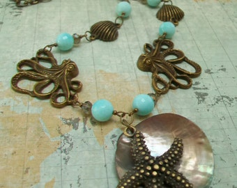 Starfish Shell  Octopus Necklace Earring Set, Unusual Summer Necklace, Aqua Blue
