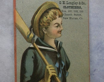 Young Boy in Sailor Dress - Hat - Oar - Victorian Trade Card - Longley & Co - Clothier - New Haven, CT - 1800's