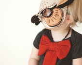 baby girl onesie--signature cinnamon bow on heather charcoal--hudson & ruthie