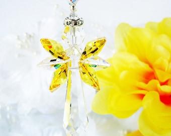 Guardian Angel Rear View Mirror Charm Yellow Swarovski Crystal Car Ornament