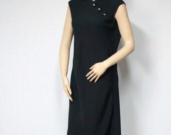 1960's Dress Vintage Black Dress Jobere Sheath Rhinestone Sleeveless Morty Sussman Elegant Noir Vintage Saks Fifth Avenue
