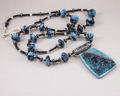 Handcrafted Floral Print Long Necklace - Turquoise Blue and Black No. 137