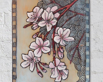 Cherry Blossom Wood Burning - Cherry Blossom Painting - Cherry Blossom Art
