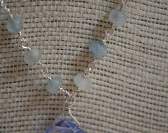 Beautiful large Blueberry Quartz briolette, Fluorite & natural Aquamarine gemstone necklace. Sterling silver, wire wrapped, handmade.