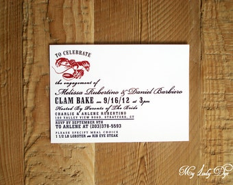 25 Clam Bake And Lobster Dinner Engagement Invitations - By My Lady Dye