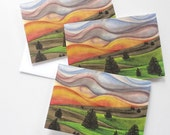 art print cards, watercolor card set, watercolor notecards, landscape art, small blank cards