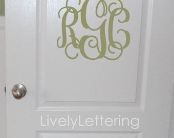 Monogram wall decal, Custom Initials for walls or door, Camp Trunk sticker, Dorm Room decor, Girl decals, vinyl lettering LL0931