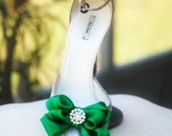 Shoe Clips Bow Kelly Green. Yellow Tangerine Orange Blue Purple Red. White Ivory Pearl / Rhinestone. St Patricks Day Bright Satin Ribbon Bow
