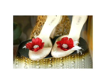 Wedding Shoe Clips Red Flower Ivory Feathers. Rhinestones / Pearls. Bride Bridal, Sexy Sophisticated Elegant Glamourous Fashion, MORE COLORS