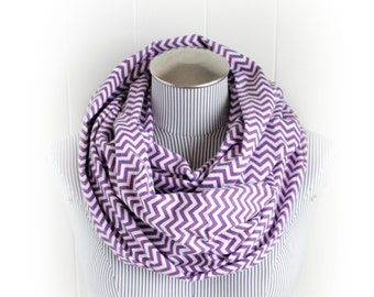 Purple Chevron Infinity Scarf, Zig Zag Violet and White Print Flannel Scarf