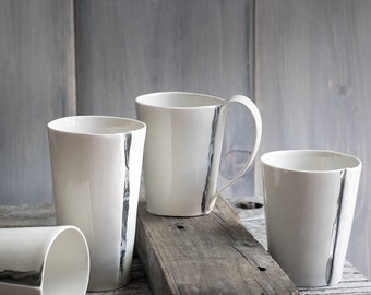 Hand Built Porcelain Mugs with Marble Stripes