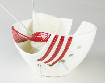 Pre-Order, White Pottery Yarn Bowl, Ceramic Knitting Bowl Red Leaf Fresh White Personalized Twisted Leaves gift Handmade - MADE TO ORDER