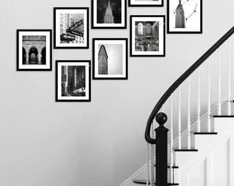 SALE, Black White New York Photography, NYC Architecture Prints, New York City Prints, NYC Art, Set of 8 Photos New York Prints