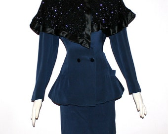 FABRICE Vintage Beaded 3 Piece Suit Cape Collar Jacket Skirt Outfit - AUTHENTIC -