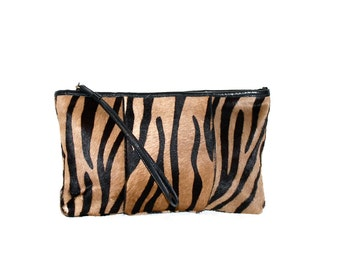 HALSTON Vintage Clutch Handbag Pony Hair Tiger Stripe Black Leather - AUTHENTIC -