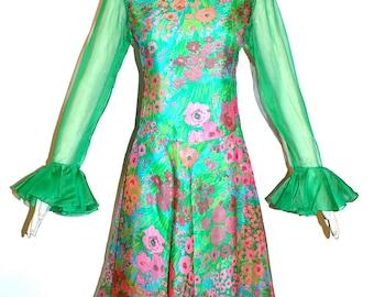 PIERRE CARDIN Vintage Silk Dress Mod Floral Flounce Mini - AUTHENTIC -