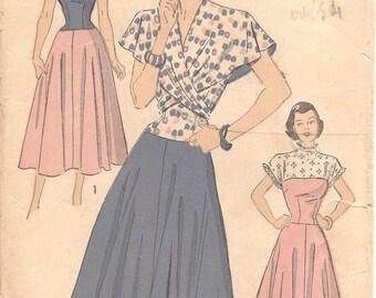 1940s Sundress Pattern with Wrap Around Cape - Vintage Pattern Advance 4863 - Bust 34