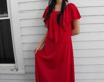 70s Dark Red Maxi Dress Hippie 1970s Long Festival Vintage S