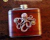Flask - octopus on leather (5 oz), steampunk pirate hipster groomsman wedding