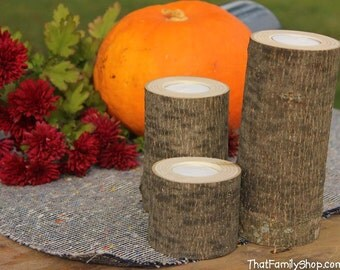 Log Candles Rustic Wedding / Cabin Decor Table Center Piece Primitive Home