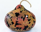 Gourd Art - Red Yellow Gold Fall Leaf Bowl