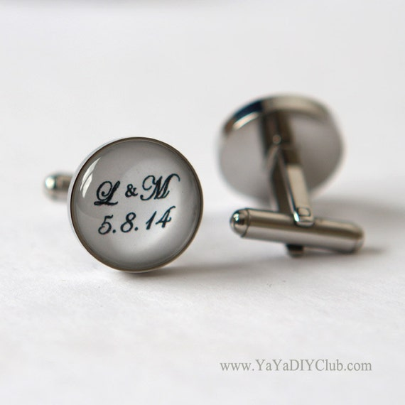 Engraved Wedding Gifts For Groom : Personalized Wedding Gift for Groom Cufflinks Custom wedding date ...