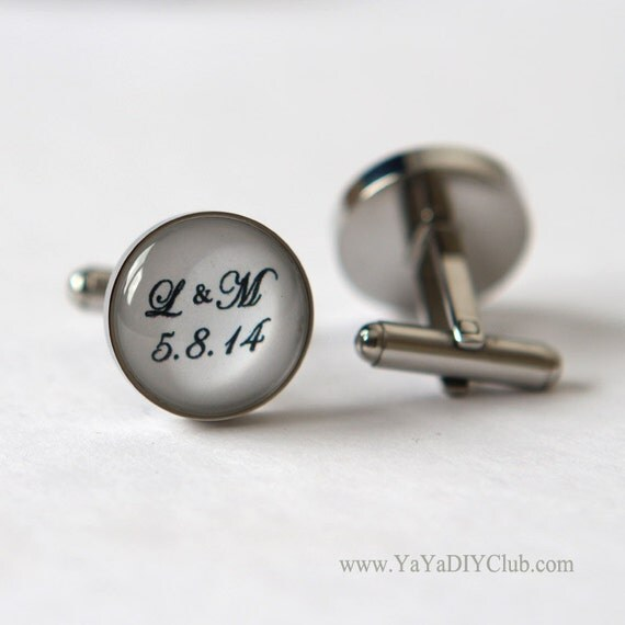 Personalised Wedding Gift For Groom : Personalized Wedding Gift for Groom Cufflinks Custom wedding date ...