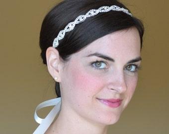 Rhinestone Headband, Bridal Headband, Crystal Diamante Wedding Hairband,Simple Headband,Bridal Headpiece, Bridal Ribbon Halo