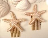 Pearl Gold StarFish Hair Combs, PAIR Gold Bridal Hair Accessory, Pearl Star Fish Seashell, Set of 2 Bridesmaids Gifts Shell Beach Wedding