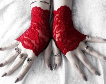 Bela Lace Fingerless Gloves | Deep Wine Scarlet Red | Vampire Dark Fusion Bohemian Victorian Wedding Garnet Gothic Bellydance Goth Lolita