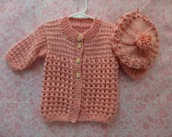 TODDLER SWEATER SET, size 6 to 12 months, hand knitted in peach baby, acrylic,  yarn, designer buttons,