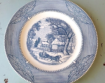 "Vintage Blue Currier & Ives Winter Scene Mount Clemens China Dinner Plate 10"" Ironstone"