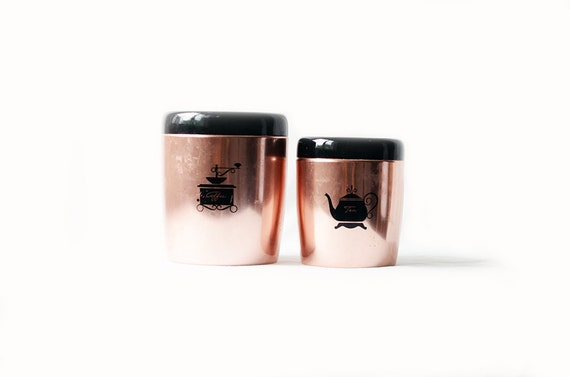 Two coffee and tea kitchen canisters - Pink tea and coffee canisters ...