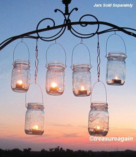 12 hanging garden light diy mason jar lantern by treasureagain for Hanging candles diy