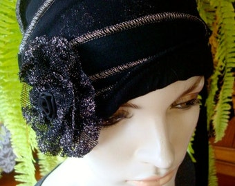 Womens Black and Silver Lyrex cloche Beanie Chemo Hat Chemo headwear evening Hat Flapper