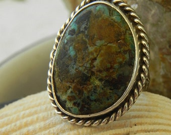 Turquoise and Sterling Silver Dead Pawn Ring