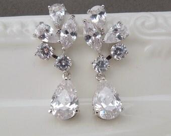 Crystal Bridal Earrings Rhinestone Earrings Cubic Zirconia Earrings Statement Bridal Wedding Earrings Rhinestone Teardrop Earrings GRACIE