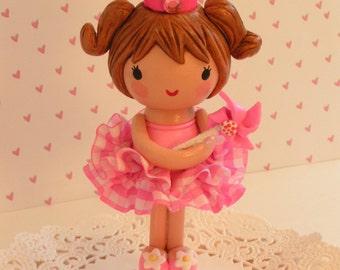 Custom Idea~ Ballerina Princess Cake Topper~1st Birthday Shower Decoration Unique Keepsake Gift Cute Baby Toddler Kids Collectible Cute