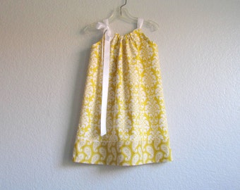 LAST ONE! Little Girls Yellow Pillowcase Dress - Mustard Yellow and White Damask and Paisley - Size 12m, 18m, 2T, 3T or 4T