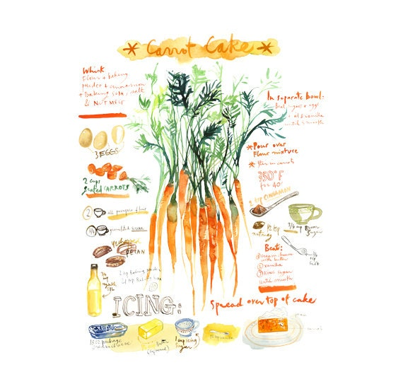 Large carrot cake recipe poster Illustrated by lucileskitchen