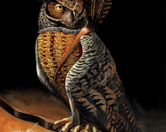 "Owl art- ""Arend at Rest"" - 8x10 Print"