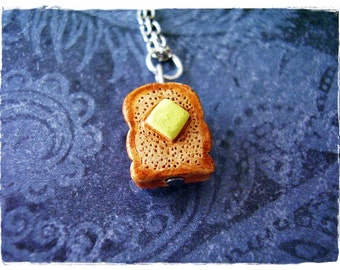 Buttered Toast Necklace - Enameled Ceramic Buttered Toast Charm on a Delicate Silver Plated Cable Chain or Charm Only
