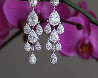 Sparkle cz earrings, dangly earrings, chandelier cubic zirconia earrings, wedding jewelry, bridal jewelry, wedding earrings, bridal earrings