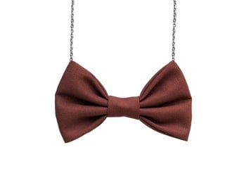 Brown Bow Tie Necklace - For Casual Wear , Party, Prom, Bridesmaids